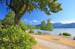 Idyllic waterside promenade, lake tegersee Stock Photos