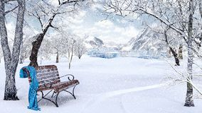 Idyllic  Winter Background. Idyllic Winter Background 3D Rendering Stock Images