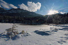 Idyllic winter landcape at small lake Royalty Free Stock Images