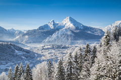 Idyllic winter landscape in the Alps stock photography