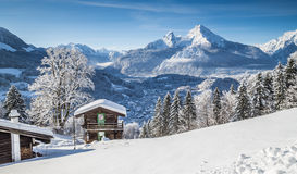 Idyllic Winter Landscape In The Alps With Mountain Lodge Royalty Free Stock Images