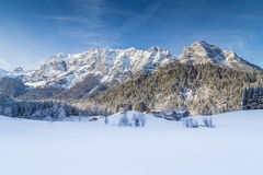 Idyllic winter mountain landscape in the Alps Stock Photo