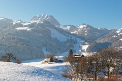 Idyllic winter mountain landscape in the Alps Stock Image