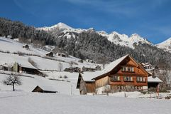 Idyllic winter scene in the Toggenburg valley Stock Photography