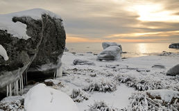 Idyllic winter sea landscape stock photos