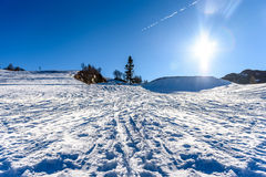 Idyllic winter ski resort wide angle panoramic photo Stock Photo