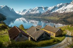 Idylliczna natura Norwegia zdjęcia royalty free