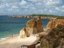Idylliczna Praia De Rocha plaża na Algarve regionie. Zdjęcie Stock
