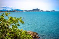Idylliczna sceny plaża przy Samui wyspą Zdjęcie Royalty Free