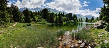 Idylliczny halny jezioro krajobraz w Szwajcarskich Alps zbliża Alp Flix obraz royalty free