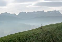 Idylliczny i pokojowy góra krajobraz z drewnianym ogrodzeniem na trawiastym zboczu i wielki widok Szwajcarscy Alps za zdjęcia royalty free