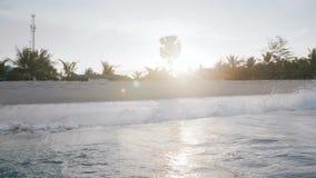 Idylliczny niskiego kąta tła strzał denne fale bryzga przy zmierzchu brzeg z pięknymi drzewkami palmowymi na egzot plaży zbiory