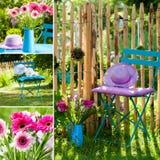Idylliczny ogrodowy kolaż fotografia royalty free
