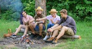 Idylliczny weekend Firma przyjaciele wydają wielkiego czasu pinkin, grilla blisko ogniska lub Przyjaciele cieszą się weekendowego fotografia stock