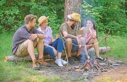 Idylliczny weekend Firma przyjaciele wydają wielkiego czasu pinkin, grilla blisko ogniska lub Grupowi przyjaciele wydają czasu wo zdjęcia royalty free