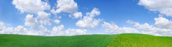 Idylliczny widok, zieleni wzgórza i niebieskie niebo z białymi chmurami, zdjęcie royalty free