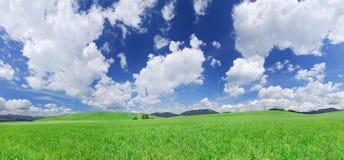 Idylliczny widok, zieleni wzgórza i niebieskie niebo z białymi chmurami, obraz stock