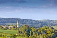 Idylliczny wiejski krajobraz, Cotswolds UK fotografia royalty free