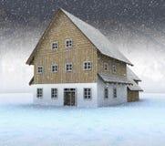Idyllisch bergplattelandshuisje bij nachtsneeuwval vector illustratie