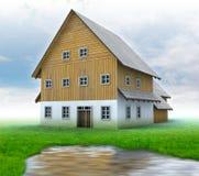 Idyllisch bergplattelandshuisje met groen gras en pond stock illustratie
