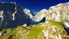 Idyllisch de zomerlandschap in het 3d teruggeven van Alpen vector illustratie