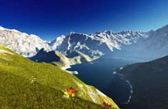 Idyllisch de zomerlandschap in het 3d teruggeven van Alpen royalty-vrije illustratie