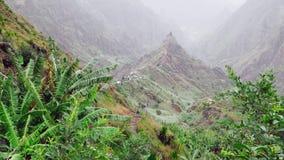 Idyllisch landelijk berglandschap De ruwe die bergrand met gras en banaaninstallaties wordt overwoekerd spreidt onderaan de valle stock video