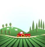 Idyllisch landelijk landschap stock illustratie