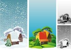 Idyllisch landschap met het huis vector illustratie