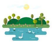 Idyllisch Landschap met Meer vector illustratie