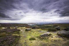 Idyllisch landschap van Piekdistricts Nationaal Park, Derbyshire, het UK royalty-vrije stock foto