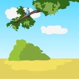 Idyllisch natuurlijk landschap met vogel vector illustratie
