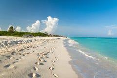 Idyllisch strand in Playacar Royalty-vrije Stock Afbeelding
