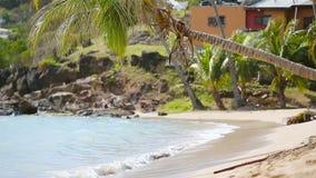 Idyllisch tropisch de baaistrand van Carlisle met wit zand, turkooise oceaan en blauwe hemel bij Antiguaeiland in de Caraïben stock video