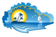 Idyllisch tropisch eiland met een jacht royalty-vrije illustratie