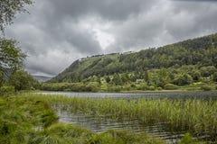 Idyllische Ansicht in Glendalough-Tal, Grafschaft Wicklow, Irland lizenzfreies stockbild
