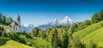 Idyllische Berglandschaft in den bayerischen Alpen, Berchtesgadener-Land, Bayern, Deutschland Stockfotografie