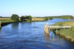 Idyllische Landschaft in der Provinz Friesland, die Niederlande Lizenzfreies Stockbild