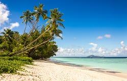 Idyllische Landschaft des sandigen Strandes in den Seychellen Stockbilder
