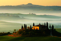 Idyllische mening van heuvelige landbouwgrond in Toscanië in mooi ochtendlicht, Italië Mistig landschap in Toscanië Belvedere in  stock foto's