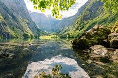 Idyllische Obersee in Berchtesgaden, Duitsland Royalty-vrije Stock Fotografie