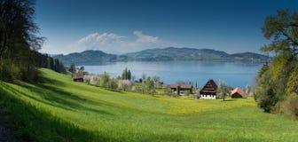 Idyllische Schweizer Landberglandschaft mit Bauernhofsee und Berge im Abstand lizenzfreie stockbilder