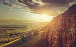 Idyllische Sonnenuntergang-Landschaft Lizenzfreies Stockfoto
