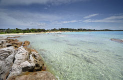 Idyllisches haarscharfes Wasser an Currarong-Strand Jervis Bay Austr Lizenzfreie Stockbilder