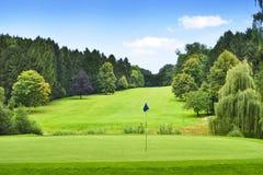 Idyllisk golfbana med skog- och golfflaggan Arkivbilder