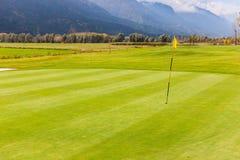 Idyllisk golfbanasikt Arkivfoto