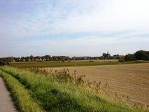 Idyllisk lantlig sikt av patchworkjordbruksmark, i den härliga omgivningen av en liten stadby Royaltyfri Foto