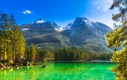 Idyllisk sikt vid sjön Hintersee i bavarianfjällängarna royaltyfri fotografi