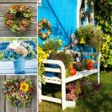 Idyllisk trädgårds- collage royaltyfri foto