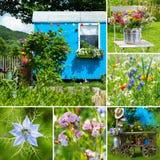 Idyllisk trädgårds- collage fotografering för bildbyråer
